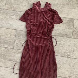 Crushed Velvet Backless Bodycon Dress